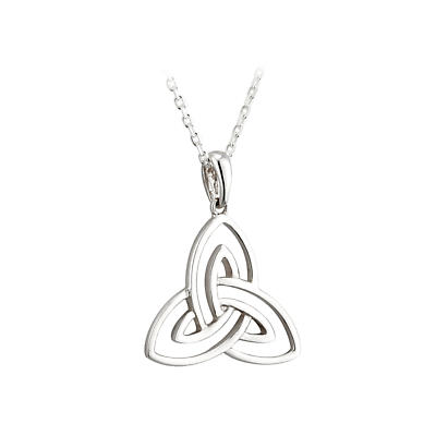 Irish Necklace - 14k White Gold Open Trinity Knot Pendant - Small