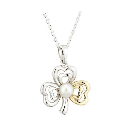 Irish Necklace - Sterling Silver and 10k Gold Fusion Pearl Shamrock Irish Pendant