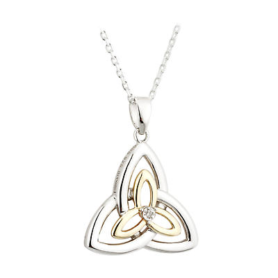 Irish Necklace - Sterling Silver and 10k Gold Fusion Diamond Celtic Trinity Knot Pendant