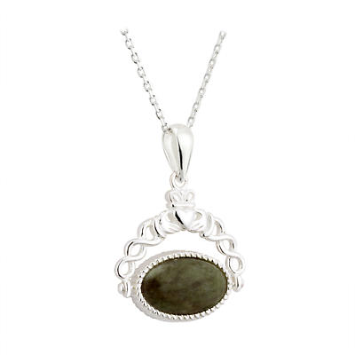Irish Pendant - Sterling Silver Connemara Marble Fob Claddagh Necklace