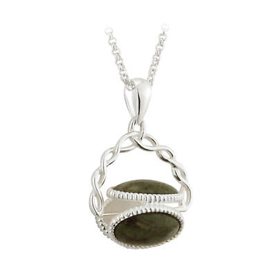 Irish Pendant - Sterling Silver Connemara Marble Fob Celtic Trinity Knot Necklace