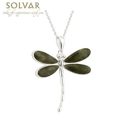 Irish Necklace - Sterling Silver Connemara Marble Dragonfly Irish Pendant