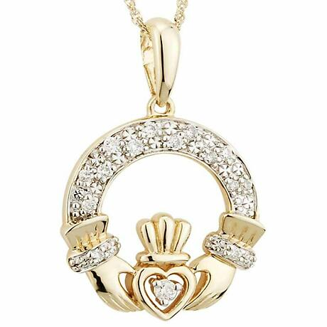 Claddagh Necklace - 14k Gold with Diamonds Claddagh Pendant