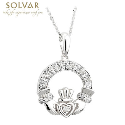 Irish Necklace - 14k White Gold and Diamond Claddagh Pendant