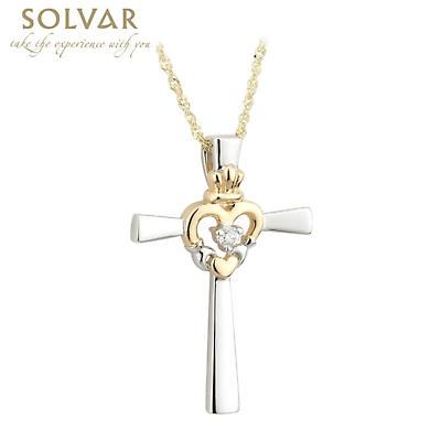 Celtic Cross - Claddagh Heart 14k Two Tone Gold Diamond Celtic Cross Necklace