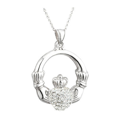 Irish Pendant - Sterling Silver with Crystal Heart Claddagh Necklace
