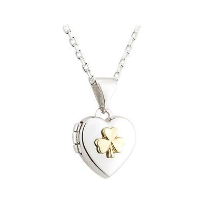 Irish Necklace - Sterling Silver Shamrock Heart Locket Kids Pendant