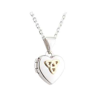 Irish Necklace - Sterling Silver Celtic Trinity Knot Heart Locket Kids Pendant