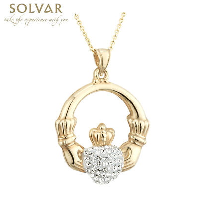 Irish Necklace - Gold Plate with Crystal Heart Claddagh Pendant