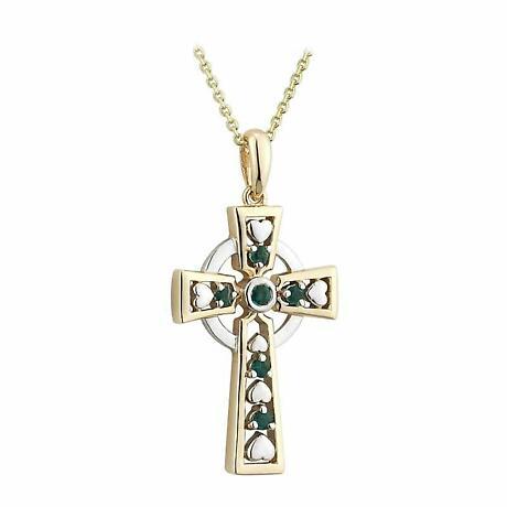 Celtic Cross Necklace - 14k Gold with Emeralds Celtic Cross Pendant