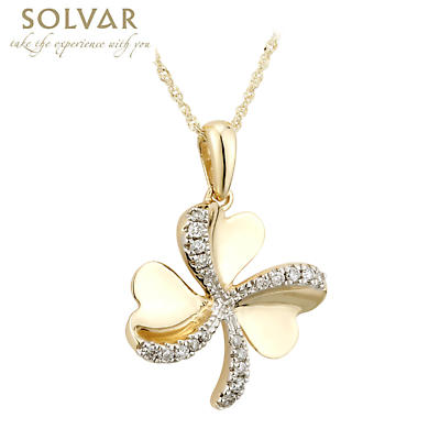 Shamrock Necklace - 10k Gold CZ Shamrock Pendant