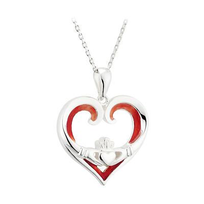 Irish Valentines Day Necklace - Sterling Silver Irish Heart Claddagh Pendant