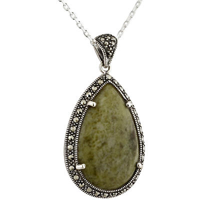 Irish Necklace - Sterling Silver Oval Marcasite & Connemara Marble Pendant