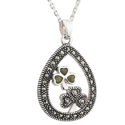 Shamrock Necklace - Sterling Silver Marcasite & Connemara Marble Double Shamrock Pendant