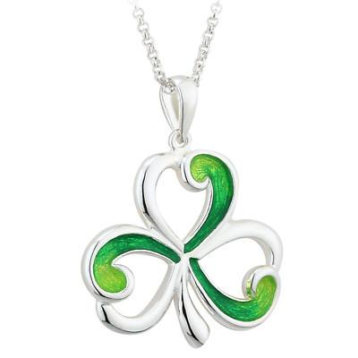 Shamrock Necklace - Sterling Silver Green Enamel Shamrock Pendant