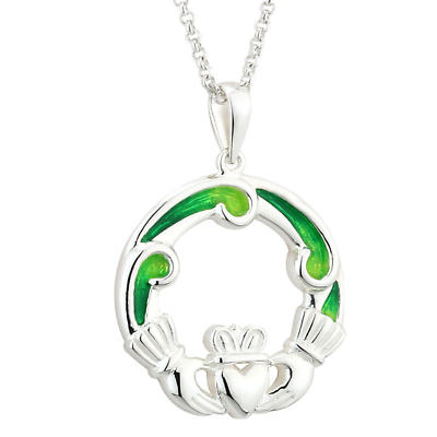 Claddagh Necklace - Sterling Silver Green Enamel Claddagh Pendant