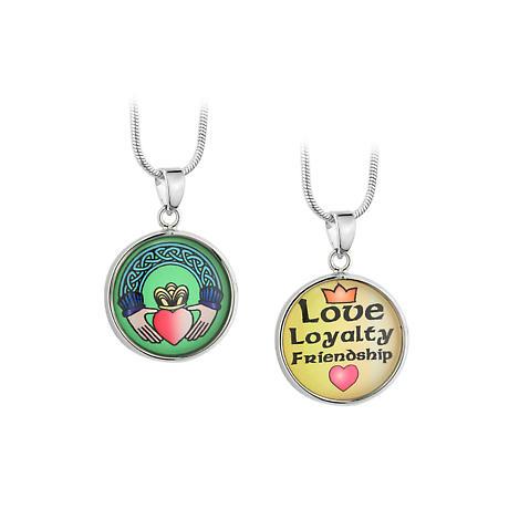 Irish Necklace - Silvertone Enamel Claddagh Love Loyalty Friendship Pendant