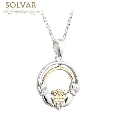 Claddagh Necklace - Silver, 10k Gold & Diamond Claddagh Pendant