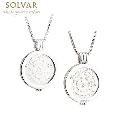 Irish Coin Pendant - Irish Blessing Shamrock and Trinity Knot Coin Rhodium Plated Pendant