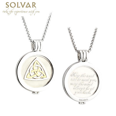 Irish Coin Pendant - Celtic Knot Blessing Coin Rhodium and Gold Plate Pendant