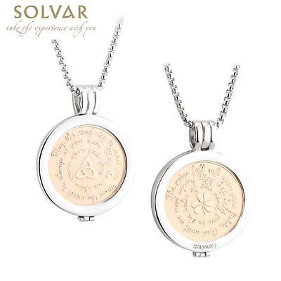Irish Coin Pendant - Irish Blessing Shamrock and Trinity Knot Coin Rhodium Gold Plated Pendant