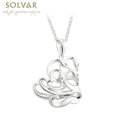 Irish Necklace - Sterling Silver & White Topaz Failte Swan Pendant