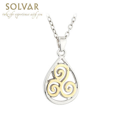 Celtic Pendant - Two Tone Plated Celtic Sprial Irish Necklace