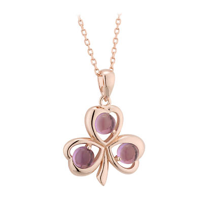 Irish Pendant - Rose Gold on Sterling Silver Shamrock Necklace with Amethyst