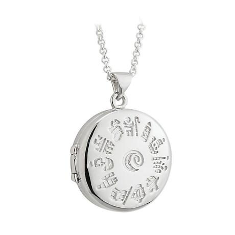 Irish Necklace - Sterling Silver History of Ireland Round Locket Pendant