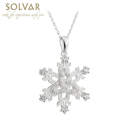 Irish Necklace - Sterling Silver Snowflake Trinity Knot Pendant
