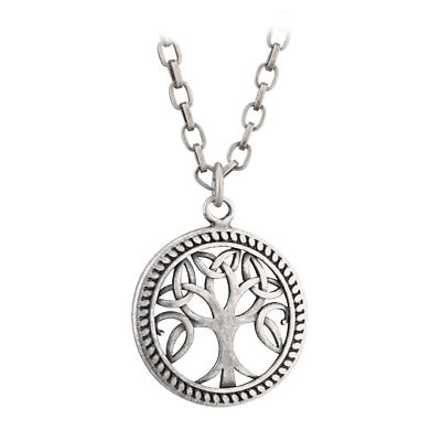 Irish Mens Pendant - Tree of Life Pewter Style Pendant on 26 inch chain