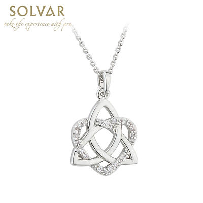 Irish Necklace - Rhodium Plated Crystal Heart Celtic Trinity Knot Pendant