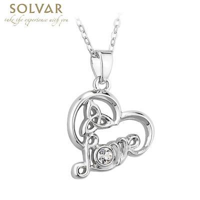 Irish Necklace - Irish Love Heart Crystal Rhodium Pendant