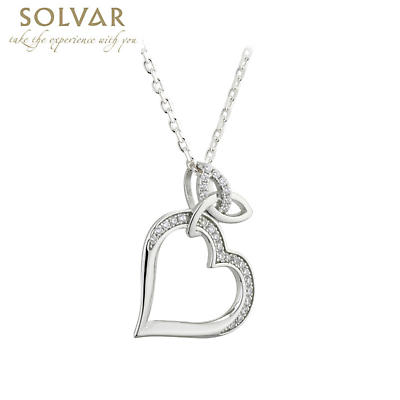 Irish Necklace - Irish Trinity Knot Heart Crystal Pendant
