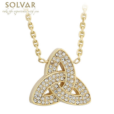 Irish Necklace - 18k Gold Plated Trinity Knot Pendant with Crystals