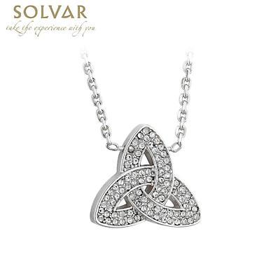 Irish Necklace - Rhodium Plated Crystal Trinity Knot Pendant