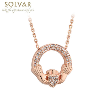 Irish Necklace - Rose Gold Plated Crystal Claddagh Pendant