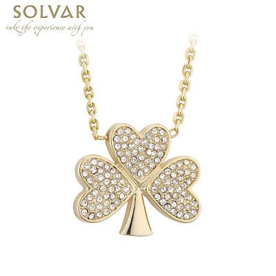 Irish Necklace - Gold Plated Crystal Shamrock Pendant
