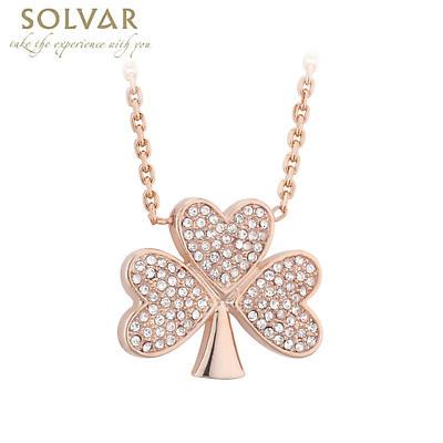 Irish Necklace - Rose Gold Plated Crystal Shamrock Pendant