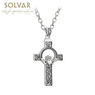 Irish Necklace - Oxidized Large Claddagh Celtic Cross Pendant