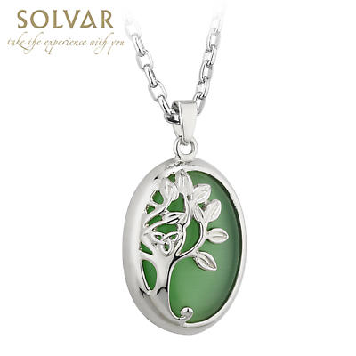 Irish Necklace - Rhodium Plated Celtic Tree of Life Green Pendant