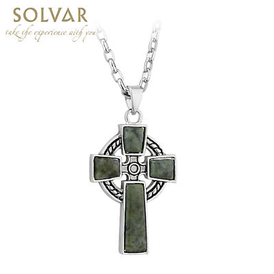 Irish Necklace - Pewter Style Connemara Marble Celtic Cross