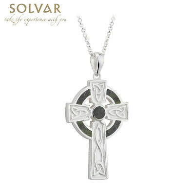 Irish Necklace - Sterling Silver Large Marble Cross Pendant