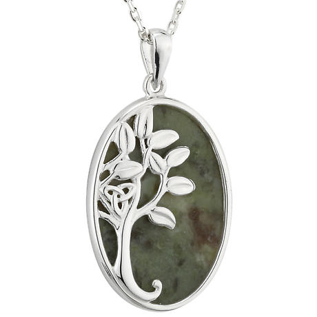 Irish Necklace - Sterling Silver Connemara Marble Celtic Tree of Life Green Pendant