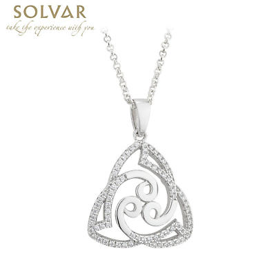 Irish Pendant - Trinity Knot Celtic Spirals Sterling Silver Necklace