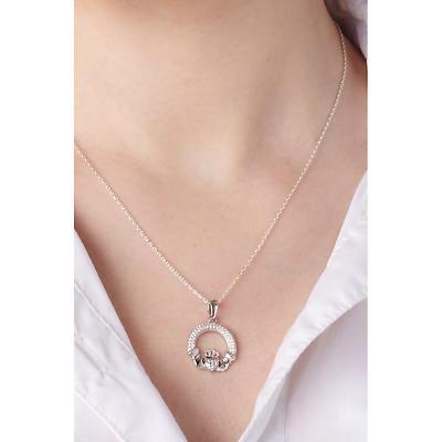 Irish Necklace - Sterling Silver Crystal Irish Claddagh Pendant