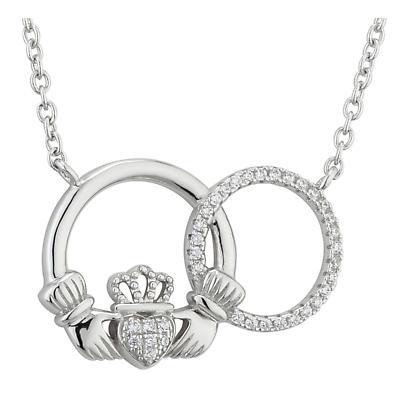 Irish Necklace - Claddagh Sterling Silver Crystal Interlocking Circle Pendant
