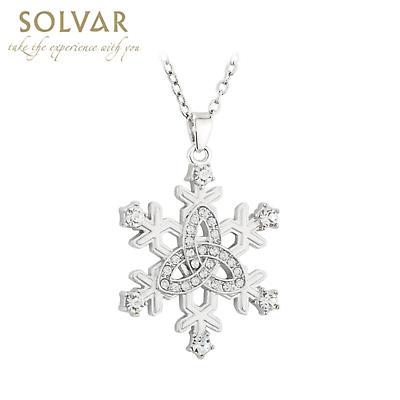 Irish Necklace - Rhodium Plated Snowflake Trinity Knot Pendant