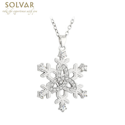 Irish Christmas Jewelry Set - Snowflake Rhodium Earring Brooch Pendant Set