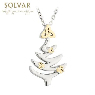 Irish Necklace - Christmas Tree Trinity Knot Shamrocks Pendant